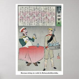 Sentada rusa en una tabla por Kobayashi, Kiyochika Posters
