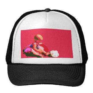 sentando y jugando el co posterized pascua rosado gorras de camionero