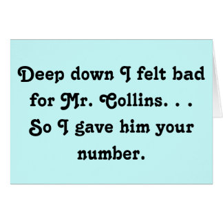 Sentido mal para Sr. Collins Design Tarjetón