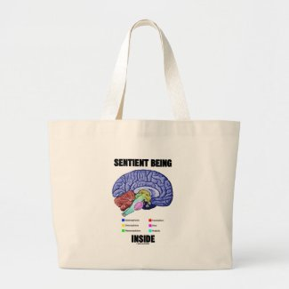 Sentient Being Inside (Anatomical Brain) Canvas Bags