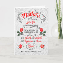 Sentimental Mother's Day Typography and Roses Card