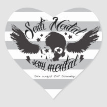 Sentimental, semi mental skull graphic art. heart sticker