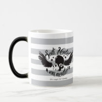 Sentimental, semi mental skull graphic art. magic mug