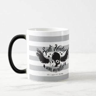 Sentimental, semi mental skull graphic art. magic mug