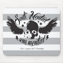 Sentimental, semi mental skull graphic art. mouse pad