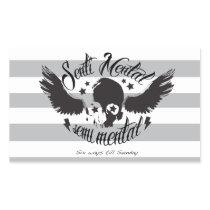 Sentimental, semi mental skull graphic art. rectangular sticker