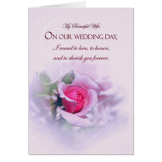 Sentimental Wife Wedding Anniversary Pink Rose Card