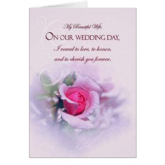 Sentimental Wife Wedding Anniversary Pink Rose Greeting Card