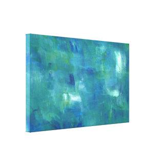 Sentimiento abstracto del verde azul lona estirada galerias