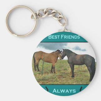 Sentimiento de los mejores amigos con los caballos llavero redondo tipo pin