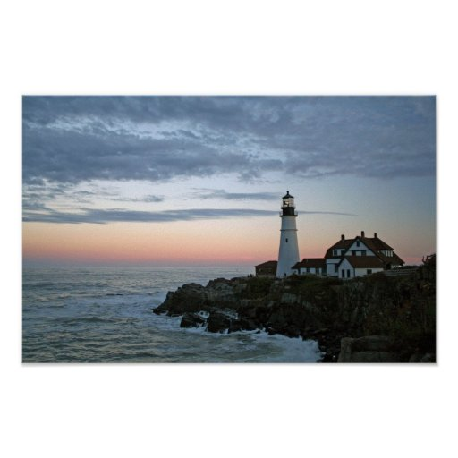 Sentinal at Sunset, Portland Head Lighthouse Poster