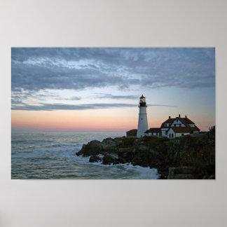 Sentinal at Sunset, Portland Head Lighthouse Poster