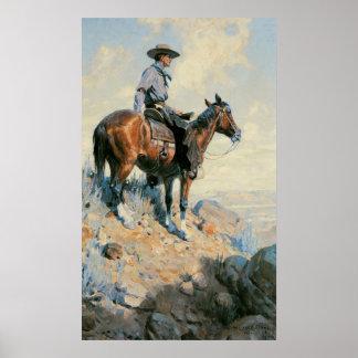 Sentinel of the Plains By Dunton, Vintage Cowboy Print