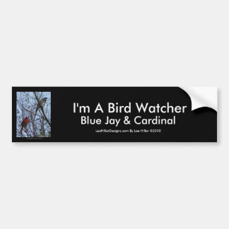 Sentinels Blue Jay and Cardinal by Lee Hiller Bumper Sticker