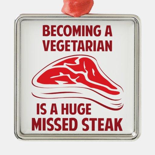 Sentir bien a un vegetariano es un filete faltado  adorno de navidad