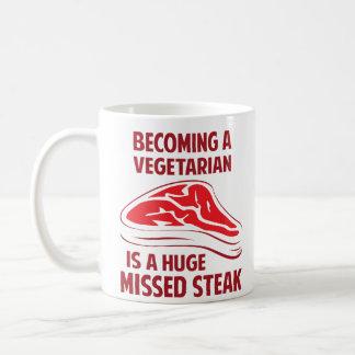 Sentir bien a un vegetariano es un filete faltado taza clásica