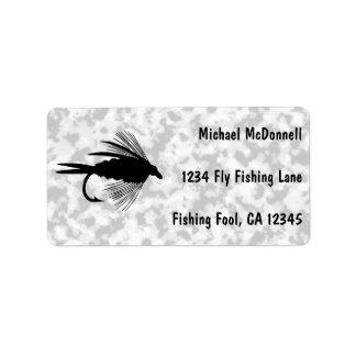 Señuelo de la pesca con mosca a personalizar etiqueta de dirección