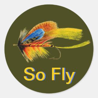 Señuelo de la pesca con mosca - tan mosca pegatina redonda