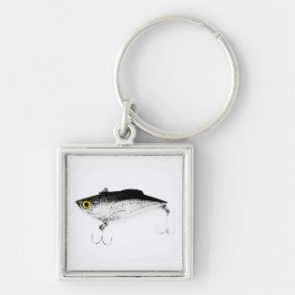 Señuelo de la pesca de los piscardos de los gancho llavero cuadrado plateado