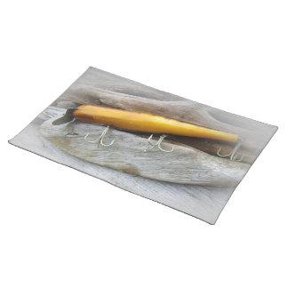 Señuelo de la pesca del agua salada del vintage de manteles individuales
