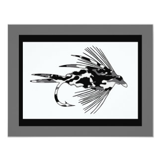 Señuelo negro de la pesca con mosca de Camo Invitación 10,8 X 13,9 Cm
