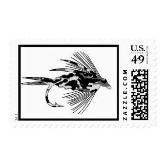 Señuelo negro de la pesca con mosca de Camo Sello