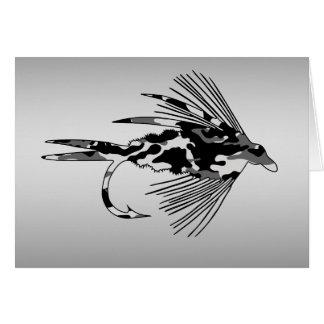 Señuelo negro de la pesca con mosca de Camo Felicitación