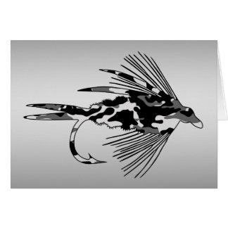 Señuelo negro de la pesca con mosca de Camo Tarjeta