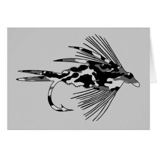 Señuelo negro de la pesca con mosca de Camo Tarjetas