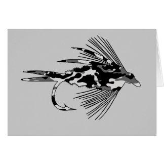 Señuelo negro de la pesca con mosca de Camo Felicitaciones