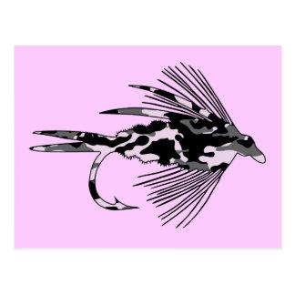 Señuelo negro de la pesca con mosca de Camo Tarjeta Postal