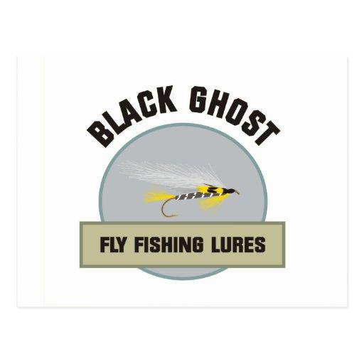 Señuelo negro de la pesca con mosca del fantasma tarjeta postal