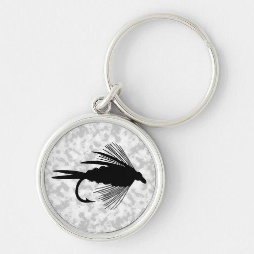 Señuelo negro de la pesca con mosca llaveros personalizados
