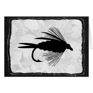Señuelo negro de la pesca con mosca felicitación