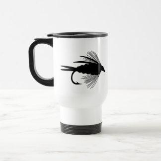 Señuelo negro de la pesca con mosca taza de viaje de acero inoxidable