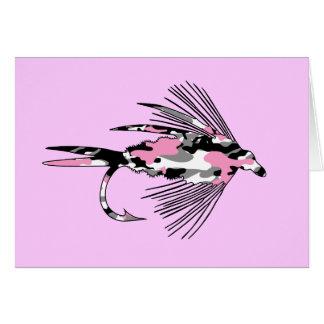 Señuelo rosado de la pesca con mosca de Camo Tarjetón