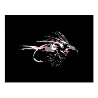 Señuelo rosado de la pesca con mosca de Camo Postales