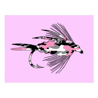 Señuelo rosado de la pesca con mosca de Camo Tarjetas Postales