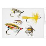 Señuelos de la pesca con mosca tarjeta