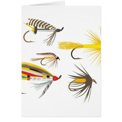 Señuelos de la pesca con mosca tarjetón