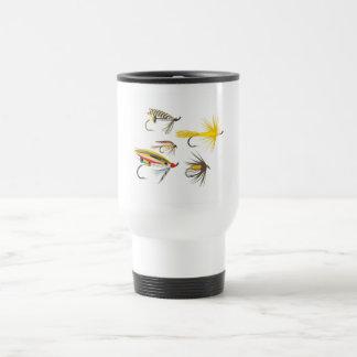 Señuelos de la pesca con mosca tazas de café