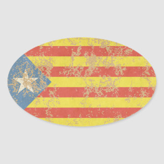 Senyera Estelada Blava Antiga Oval Sticker