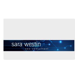 SEO Consultant Blue Computer Circuits BusinessCard Double-Sided Standard Business Cards (Pack Of 100)