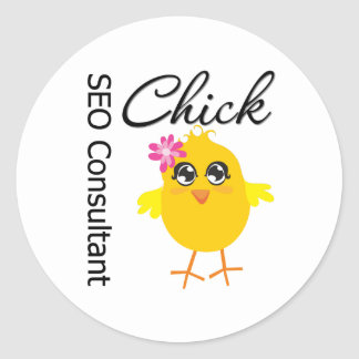 SEO Consultant Chick Round Stickers