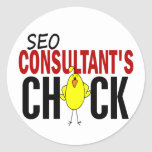 SEO Consultant's Chick Round Stickers
