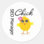 SEO Manager Chick Round Sticker