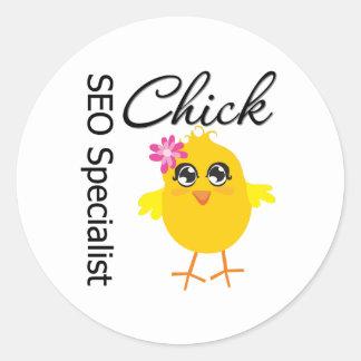 SEO Specialist Chick Classic Round Sticker