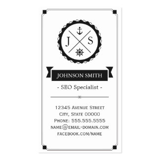 SEO Specialist - Retro Nautical Monogram Double-Sided Standard Business Cards (Pack Of 100)