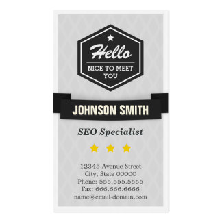 SEO Specialist - Say Hello in Retro Style Double-Sided Standard Business Cards (Pack Of 100)