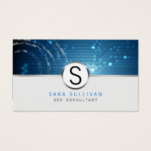 Seo business cards templates zazzle seoconsultant computer circuits monogram internet business card colourmoves